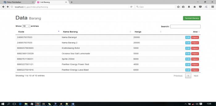 CRUD tanpa reload page dengan ajax dan datatable menggunakan codeigniter