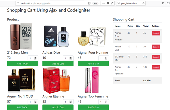 html table class code igniter shopping cart