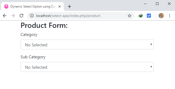 Dynamic Select Options Dependent Dropdown in Codeigniter and Ajax